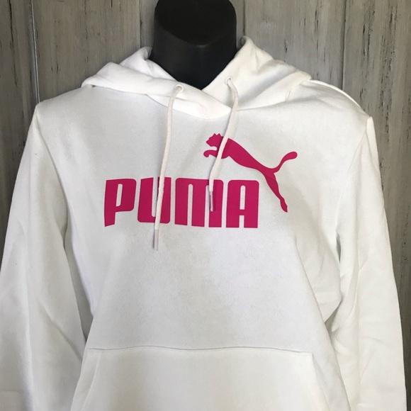 Puma Logo Hoodie Womens Fleece Jumper Long Sleeve Hooded Sweatshirt RUNS SMALL